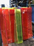 *  job lot of 25 various colour Perspex food display stands approx 4ft long Located at Grantham,