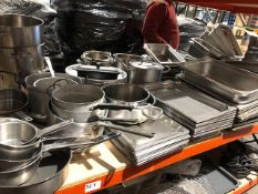 * large double shelf with loads of stainless pots trays bowls etc Located at Grantham, NG32 2AG