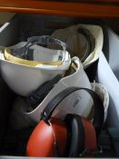 *Box of Safety Equipment Including Hardhats and First Aid Kit, etc.