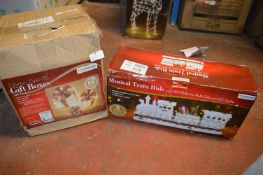 Musical Train Ride and Three Rattan Light Up Gift