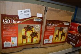 Two Box of Three Rattan Light Up Gift Boxes