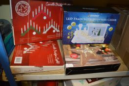*Two Candle Bridge Lights, LED Snowman, Train and