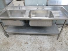 * S/S double bowl sink with small right hand draining board - complete with taps and undershelf.