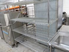 * 4 shelf wire racking on castors. 1500w x 610d x 1720h