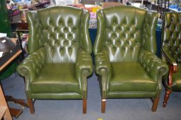 Pair of Green Leather Chesterfield Wingback Armcha