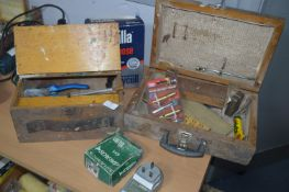 Wooden Toolboxes and Contents