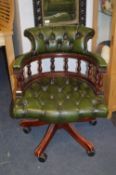 Green Leather Chesterfield Swivel Captains Chair