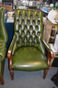 Green Leather Chesterfield Armchair