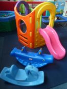 *plastic house with slide and 2 x plastic rockers