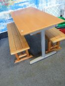 *table with 2 x benches. Table - 1200w x 600d x 700h. Bench - 1140w x 280d x 430h