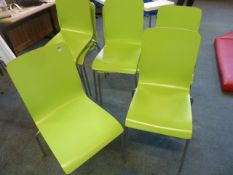 *8 x lime green stackable chairs with S/S legs