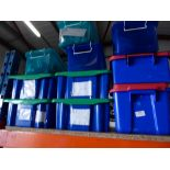 * 10 x small plastic tubs containing an assorment of childrens toys and misc items