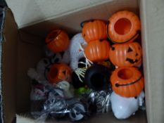 *selection of Halloween decorations - including pumpkin lights, lunch boxes