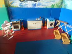 *Children's wooden house hold play set. Incudes sink, oven, washing machine, 2 x ironing boards, air