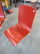 *8 x red stackable chairs with S/S legs