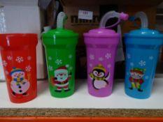 *large Christmas plastic cups, foam masks