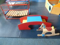 *Wooden toys - bridge, 2 seated table and rocker