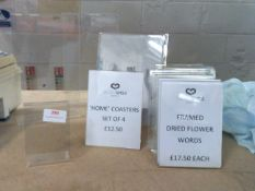 * acrylic POS stands x 15 various sizes