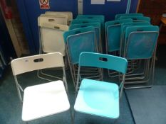 *16 x folding chairs - 4 x white, 12 x blue