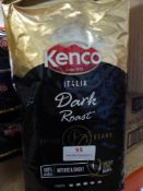 *Kenco dark roast espresso coffee beans 4 x 1kg