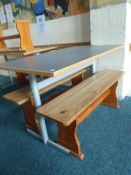 *grey topped table with 2 x wooden benches. Table 1200w x 600d x 700h. Benches - 1140w x 280d x 430h