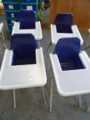 *4 x high chairs - plastic seat and tray with metal x-frame legs