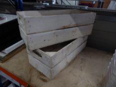 * 2 x white wooden crates. 500w x 220d x 170h