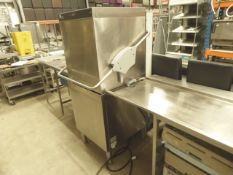 * Maidaid 2021 pass thru dishwasher with 2 x feed tables. Left feed - with sink, taps and bin cut