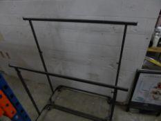 * 2 x grey metal hanging rails on castors - adjustable height. 1600w x 550d x 1360-1850h