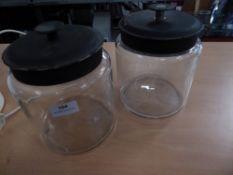 * 2 x glass 'cookie' jars with lids