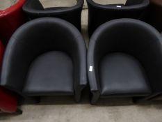 * 2 x black easy chairs