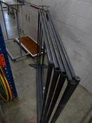 * 6 x grey metal frame hanging rails 1530w x 470d x 1470h