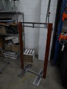 * 3 x wooden and silver slim line clothes rails with end coat hooks. 800w x 600d x 1400h