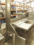 * corner shelf with pot wash sink and taps. 2600w x 1000d