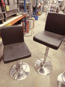 * 2 x black leather gas lift stools with chrome bases. (seat height from 630h to 830h)