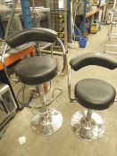 * 2 x black and chrome gas lift stools with 'diner' backs - one with small rip to seat as seen in