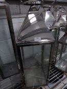 * S/S lantern. 230w x 230d x 710. missing one glass panel