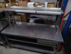 * S/S prep bench with over shelf, 2 x under shelf and 2 x tab grabs. 1800w x 650d x 1450h
