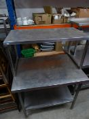 * S/S prep bench with over shelf and under shelf. 1000w x 700d x 1370h