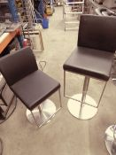 * 2 x soft black leather gas lift stools with brushed chrome bases and foot bars. (seat height