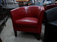* 2 x red leather easy chairs