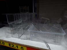 * large quantity (50+ items) of acrylic boxes, pots, stands