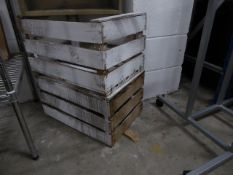 * 2 x white and wooden crates. 550w x 380d x 300h