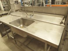 * double depth left hand potwash feed table with sink, taps, spray hose and racking for 4 pot wash
