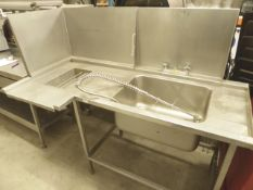 * L-shaped feed table for pot wash with sink and taps and splash back. 1700w x 820d x 140h