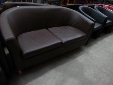 * brown leather sofa