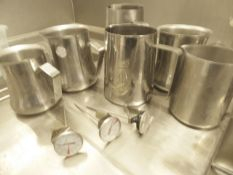 * 6 x S/S milk steaming jugs and 3 x milke themometers