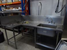 * S/S left hand 'L' shaped sink with cut out for bin and macerator - including taps and partial