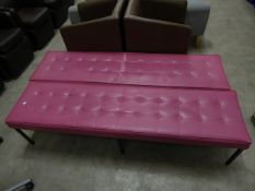 * 2 x pink leather bench seats with button detailing