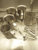 * 5 x S/S milk steaming jugs, small sugar tongs and milk themometer